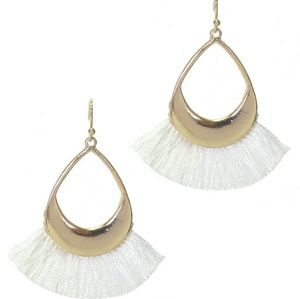NEW white and gold teardrop tassel earrings